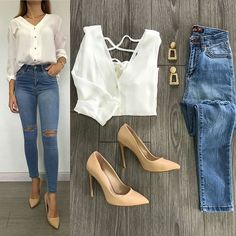 womens casual style with white buttoned - womens casual style with white buttoned Informations About womens casual style with white buttoned P - Casual Work Outfits, Business Casual Outfits, Mode Outfits, Classy Outfits, Trendy Outfits, Fashion Outfits, Womens Fashion, Mode Jeans, Casual Chic