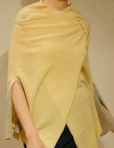 Hand stitched & repurposed yellow & gray cashmere poncho.