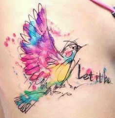 A nice watercolor tattoo. I would like a watercolor tattoo one day.