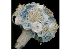 Winter Blue & White Crystal Snowflake Rose Brooch Bouquet - TheWeddingMile.com