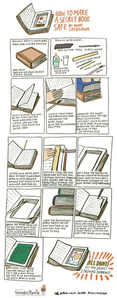 to Make a Super Secret Book Safe How to make a super secret book safe. My only problem with this is that it destroys a book!How to make a super secret book safe. My only problem with this is that it destroys a book! Book Crafts, Fun Crafts, Paper Crafts, Book Projects, Projects To Try, Book Safe, Super Secret, The Secret Book, Secret Box