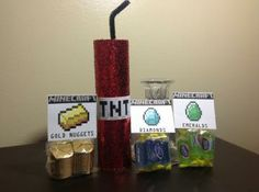 Minecraft Birthday Party TNT Dynamite Stick Favor Sets with Diamonds, Gold and Emeralds Candy Treats by EpicEvent for $25.95 #zibbet