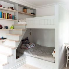 I love this idea for bunks in a child's bedroom from #housetohome - it looks fab and provides extra storage (you could even have little shelves on the underside of the stairs) ♥ #smallkidsroomideas