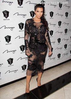 Kim Kardashian In A See-Through Lace Dress At Vegas
