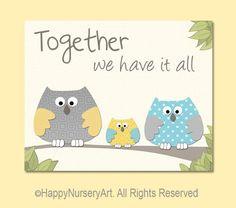 Nursery art owls family love quote art print by HappyNurseryArt