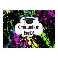 Invitación de neón de la fiesta de graduación de l