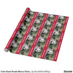 """Cute Giant Panda Merry Christmas Wrapping Paper, Festive Bright Red Borders - This colorful wrapping paper, using my original photo of a cute giant panda bear, is a unique way to wrap Christmas gifts. Great for people who love pandas! Says """"Merry Christmas!"""" but you can easily modify or personalize it. All Rights Reserved © 2014 A&M Socolik."""