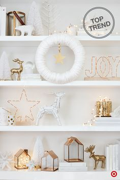 Keep your holiday decor light, bright and effortlessly elegant. A winter whiteout makes a huge statement when mixed with luxe metallic décor. Your shelves will shine with layers of white and gold decorative pieces, surrounded by strands and strands of dewdrop lights. These flexible LED lights add a glam, festive look styled in glass décor and votives, or simply draped across a shelf.