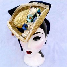 Marie Antoinette inspired straw tricorn by Betsy Hatter