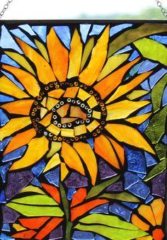 Sun Flower Mosaic WALL Art Panel WINDOW Panel by HildeMosaics, $30.00