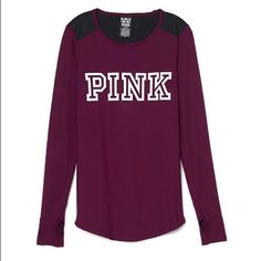 Long sleeve Black Orchid color by Pink Premium stretch. Sleek and a little sporty, this long sleeve tee is fitted with a curve hem.  Fitted Curve hem Smooth sporty feel Imported polyester PINK Victoria's Secret Tops Tees - Long Sleeve