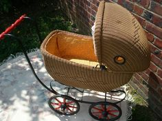 Mom's doll carriage - 1920'S ANTIQUE WICKER DOLL CARRIAGE