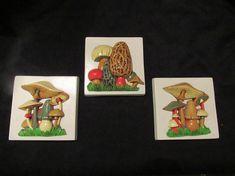 3 Piece Set Vintage Ceramic Mushroom Wall Plaques Mid Century
