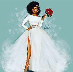 african wedding dresses illustration by reception dress AKSCIGI by laviye - 2019 Dresses, Skirt, Shirts & Black Girl Art, Black Women Art, Black Girl Magic, Black Art, Natural Hair Art, Natural Hair Styles, African Wedding Dress, Wedding Dresses, Hair Wedding