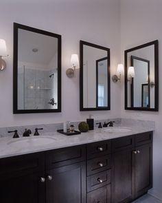 master bath idea: like hardware knobs only. like 2 mirrors -want glass shelf under each mirror
