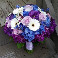 Purple and blue bridal bouquet