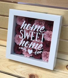 Home Sweet Home Sign - Flower Shadow Box - New Homeowner - New Homeowner Gift - Housewarming Gift - Our First Home - House Welcome to The Scarlett Butterfly! The paper flowers are carefully handrolled out of colored cardstock, each one beautiful and un Flower Shadow Box, Flower Box Gift, Diy Shadow Box, Flower Boxes, Shadow Box Frames, Flower Ideas, Rolled Paper Flowers, Paper Flowers Diy, Flower Crafts