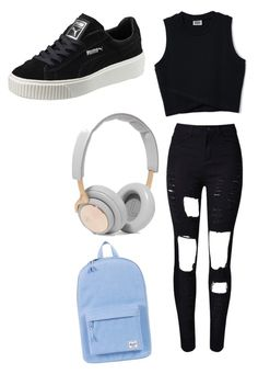 """Untitled #27"" by cassidymalllen on Polyvore featuring WithChic, Puma, B&O Play and Herschel Supply Co."