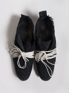 Elena Dawson Leather Lace-Up Shoes with Lace Appliqué
