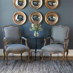 Shop for Uttermost Willa Steel Gray Armchair, and other Living Room Arm Chairs at Upper Room Home Furnishings in Ottawa, Ontario. Round Wood Mirror, Antiqued Mirror, Rustic Dining Chairs, Home Interior, Interior Design, Uttermost Mirrors, Wall Mirrors Set, Mirror Glass, Mirror Set