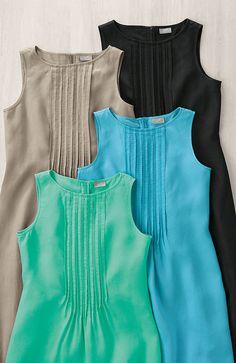 dresses > sleeveless pintucked linen dress at J.Jill