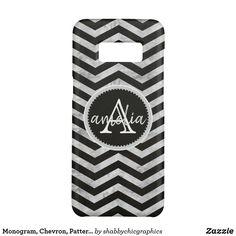 Monogram, Chevron, Pattern, Black, Silver Phone case #chevron  #zigzag #monogram #name #personalized #zazzle #black #grey #silver #chevron #samsung