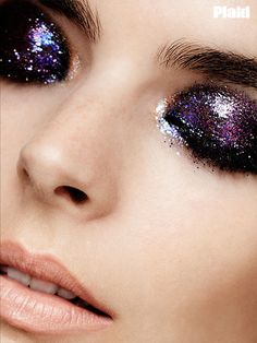 Glitter eyes, nude lip. I really love this look for a New Years Eve or a special Birthday party out I love Glitter eyes!
