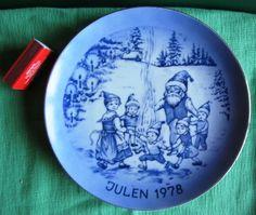 Julen 1978 Tillverkad Endast 3000 Exemplar Christmas Santa gnome children Collectors Plate Sweden