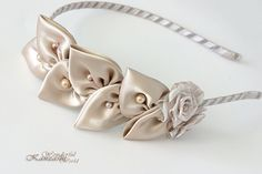 Vintage Leaf Wedding Bridal Fabric Flower Headband, handmade from Beige satin and ribbon with pearls. Perfect for Bridal, Bridesmaids, Flower