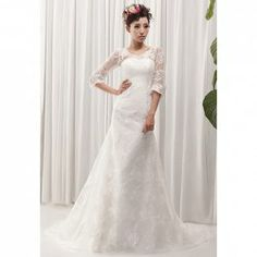 $145.16 Charming V-Neck Lace Embroidery Women's See-Through Half Sleeves Mermaid Wedding Dress