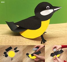 Easy Paper Craft Ideas for Kids with DIY Tutorials Recycled Crafts paper craft ideas - Paper Crafts Paper Animal Crafts, Bird Paper Craft, Paper Animals, Paper Birds, Art N Craft, Paper Crafts For Kids, Paper Crafting, Arts And Crafts, Diy Spring