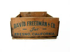 Vintage Wood Crate, Fresno, California Advertising Crate, Blue Writing, Fruit Crate