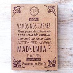 Convite especial e muito charmoso em papel kraft para os padrinhos! #casamento #convite #madrinhadecasamento  #padrinhosdecasamento  #papelaria #papelkraft #rústico #noiva #personalizados
