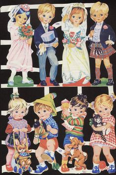I got most of these by swapping with my friends. Vintage Die-cut Children Wedding and Kids with Animals My Childhood Memories, Childhood Toys, Vintage Paper Dolls, Vintage Toys, Motif Vintage, Wedding With Kids, Old Toys, Vintage Children, Vintage Images