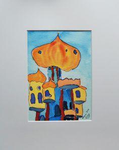 """Aquarell """"Hundertwasser trifft Orient""""  Dieses Aquarell wurde extra für die Aktion KunstRaub Nr.5 """"TurmKunst"""" hergestellt. Es zeigt den Hundertwa..."""