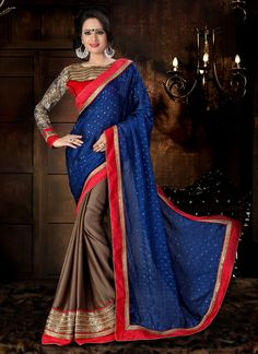 This red and brown chiffon satin designer saree add the sense of elegant and glamorous. The ethnic embroidered, patch border and zari work within the dress adds a sign of beauty statement for the look...