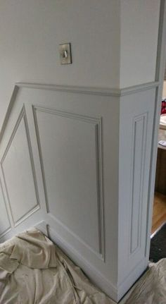 The coat of The Little Greene Paint Company& 161 French Gray applied to the panels with Slacked Lime 105 above is part of Stair paneling - Stair Paneling, Home, House Styles, Stair Walls, Victorian Hallway, Georgian Interiors, Hallway Designs, House Interior, Wall Paneling
