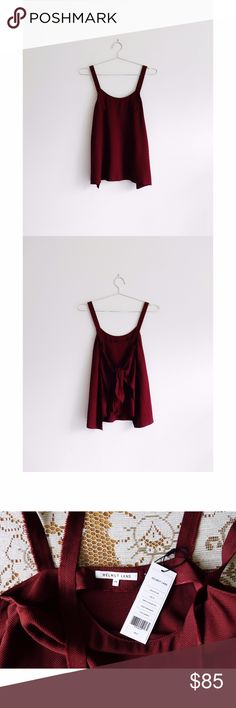 "Helmut Lang Dark Red Back Tie Tank sz XS - NWT Helmut Lang Deep Red Burgundy Pomegranate Draped Back Tie Tank Blouse size XS Extra Small, new with tags, style SW-TP1061, style# G06HW510, back tie closure, jacquard twill fabric, deep red pomegranate color, sleeveless with thicker straps with raw hems, 100% viscose, trim 100% silk, 15"" pit to pit, 26"" shoulder to hem, super sad this is too small for me otherwise would never part with it :(( Helmut Lang Tops Tank Tops"