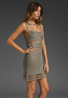 Gray Crochet Dress