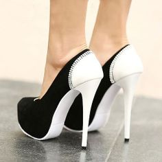 Sexy Bicolor Joint High Heel Diamond Platform Women's Shoes