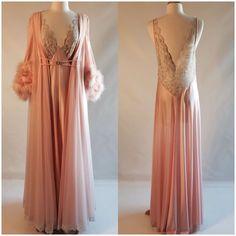 Vtg Claire Sandra By Lucie Ann Nightgown Robe Peignoir Set Peach Feathers Lace #ClaireSandraByLucieAnnBeverlyHills
