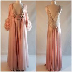 Vtg Claire Sandra By Lucie Ann Nightgown Robe Peignoir Set Peach Feathers Lace #ClaireSandraByLucieAnnBeverlyHills