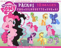 SALE My Little Pony PNG Silhouettes AI Svg Transparent Clipart Scrapbook Invitations Printable Party Centerpiece Digital Download Pack#1 (2.90 USD) by brazilianplace