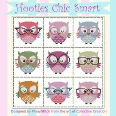 Hooties Chic Smart Mini Collection Cross Stitch by PinoyStitch