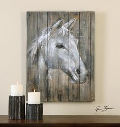 Give your walls equine appeal with the Uttermost Dreamhorse Hand Painted Art . This hand-painted wall art features a striking portrait of a white horse. Pallet Painting, Pallet Art, Tole Painting, Hand Painting Art, Painting On Wood, Art Paintings, Painted Horses, Barn Wood Crafts, Old Barn Wood