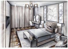4 отметок «Нравится», 1 комментариев — @vinokurova.daria в Instagram: «Оч крутой дизайн спальни от @l.anna.k #drawinterior #интерьерныйскетч #маркерыtouch #sketch…»