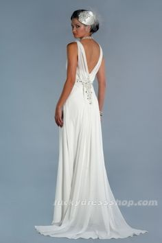 Simple White V-neck Long/Floor-length Chiffon Beach/Destination Wedding Dress (MW3890)-LuckyDressShop.com