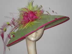 Pink and green sinamay with feathers #millinery #judithm #hats