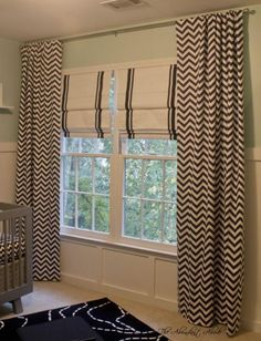 DIY Blackout Curtains: different fabrics, but keep the 2 curtain idea. White blackout curtain/ roman shade & white normal curtains with color fabric at the bottom.
