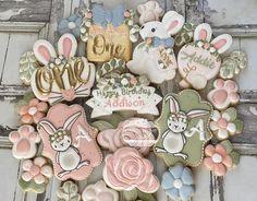 Somebunny is One 1st Birthday Cake For Girls, First Birthday Cookies, First Birthday Themes, Bunny Birthday, 2nd Birthday Parties, First Birthdays, Flower Cookies, Easter Cookies, Fun Cookies